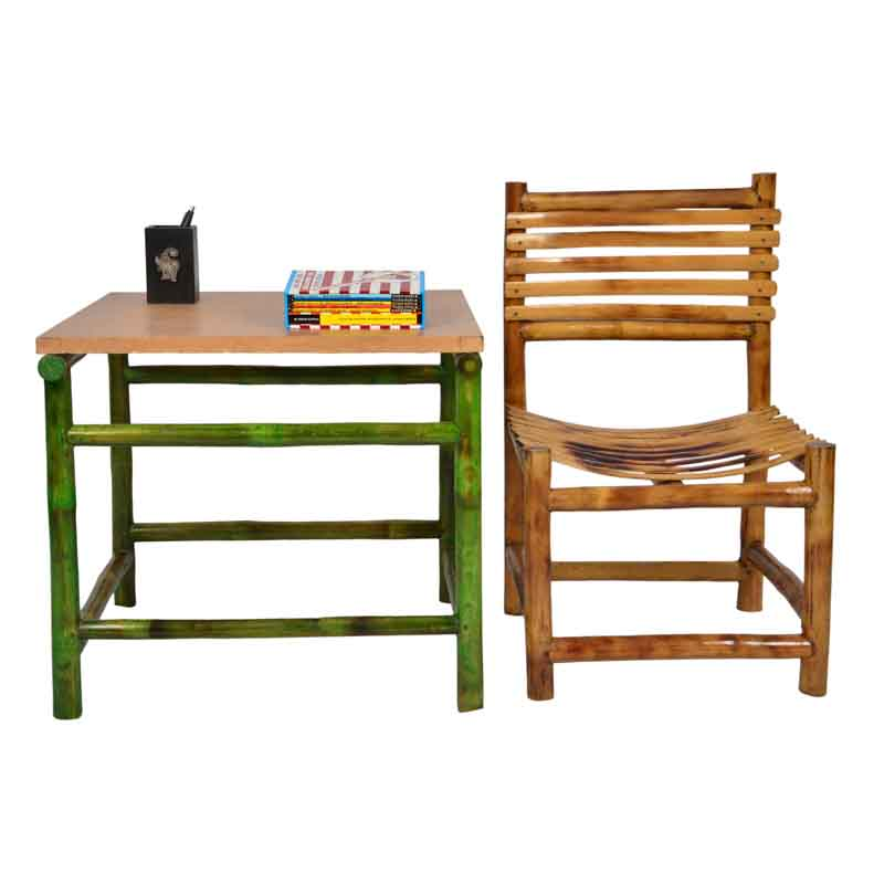 Moorni Kids Study Table and Chair Set in Bamboo