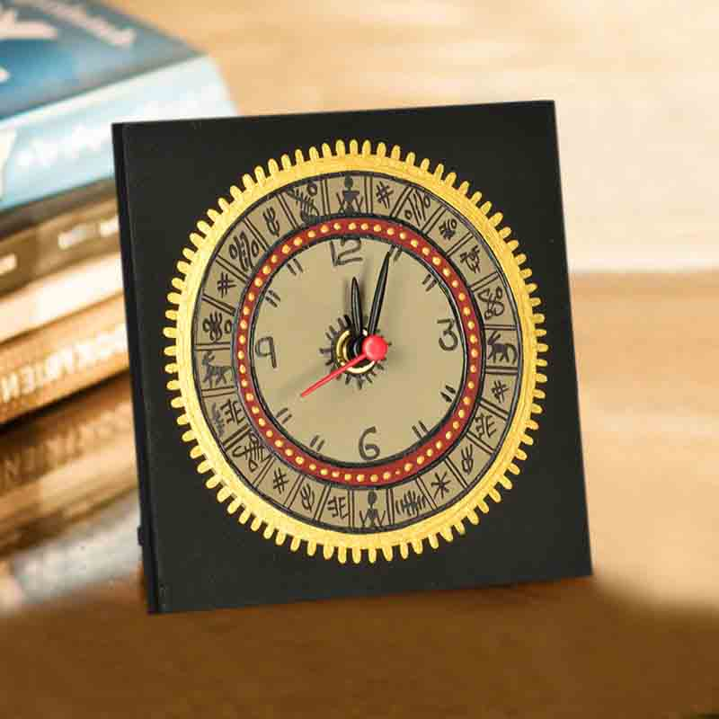 Moorni Warli Handpainted Table Clock 5*5 Inch in Black
