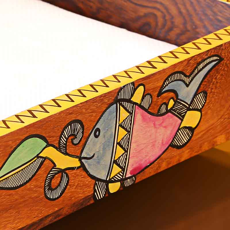 Moorni Handpainted Wooden Napkin Holder with Madhubani Art
