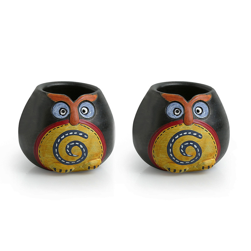 Moorni Small Twin Owl Pot-Faces Toothpick Holder In Terracotta (Set Of 2)