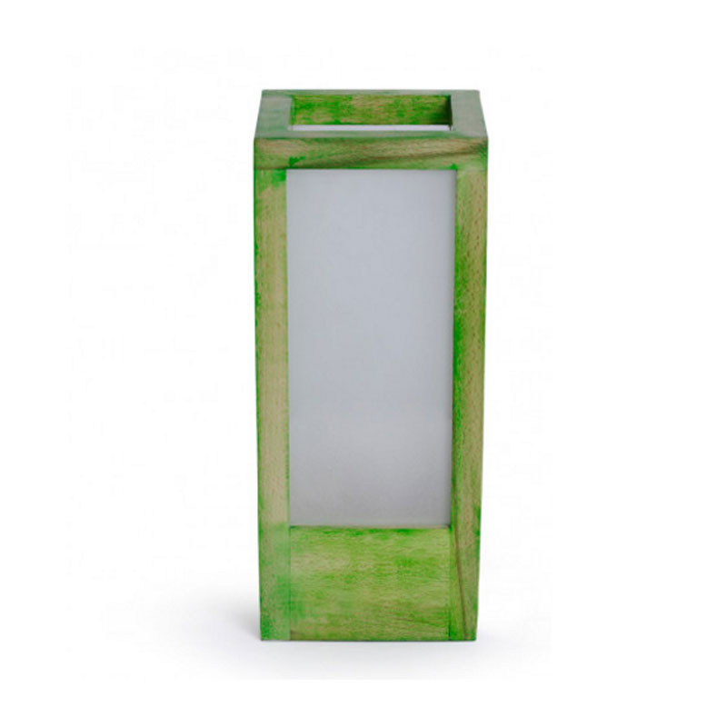 Moorni 10 Inch Wooden Table Lamp With Frosted Glass In Pantone Green - EL-003-125