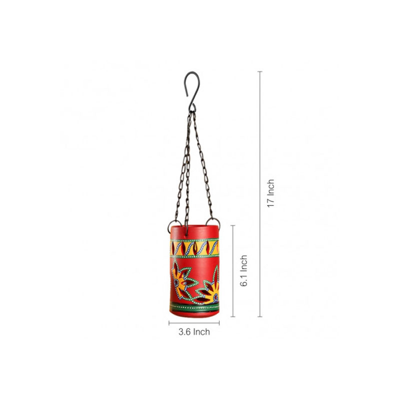 Moorni Dabba Light Terracotta Hanging Tea-Light Holder In Crimson Red - EL-008-118