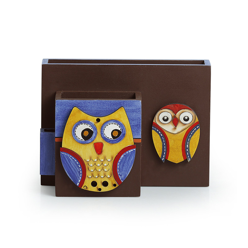 Moorni Twin Owl Motifs Cutlery Napkin & Toothpick Holder In Wood (3 Partitions)