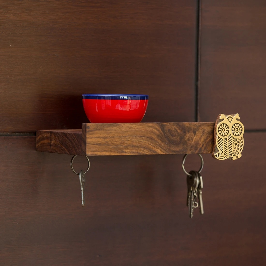Moorni Owl On The Wall Key Hook With Hand Carved Owl Motif In Sheesham Wood