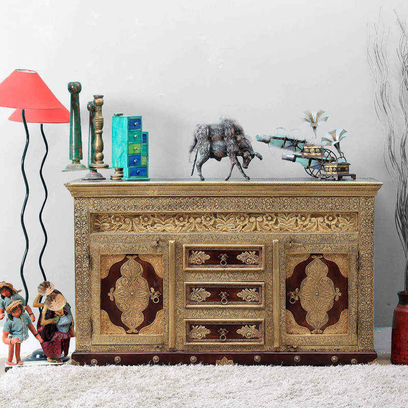 Navi Art Wood Brass Fitted Sideboard in Honey Oak Finish - SBA082