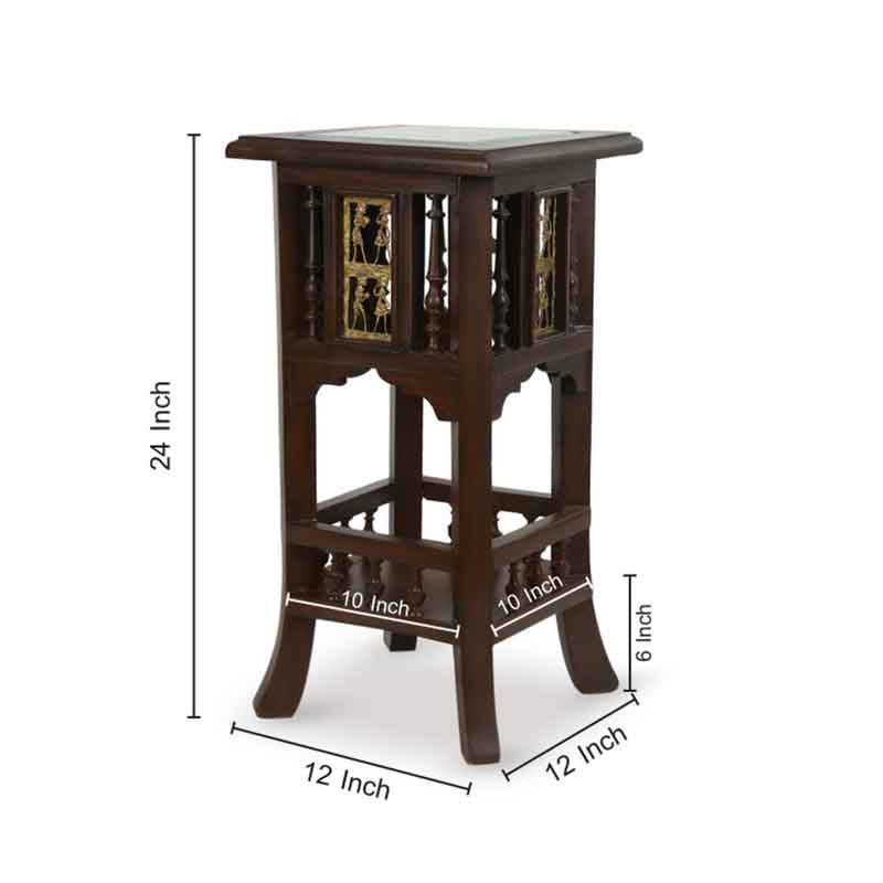 Moorni Teak Wood Warli and Dhokra Planter Table - EL-020-103