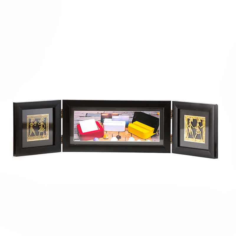 Olha-o Photo Frame Two Folds Black