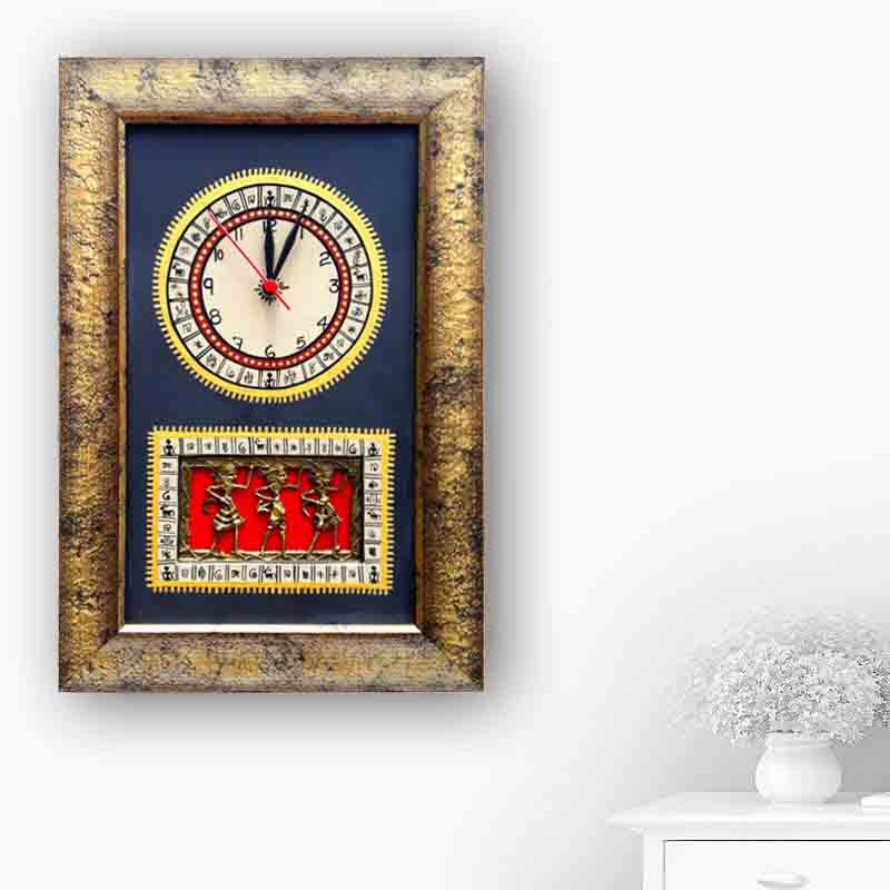 Moorni Warli Handpainted and Dhokra Work Clock 15*10 Inch in Black - EL-001-012