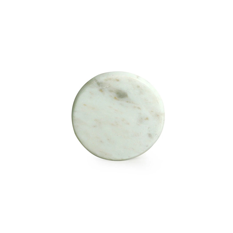 Moorni White Rounded Coasters In Marble (Set of 4)