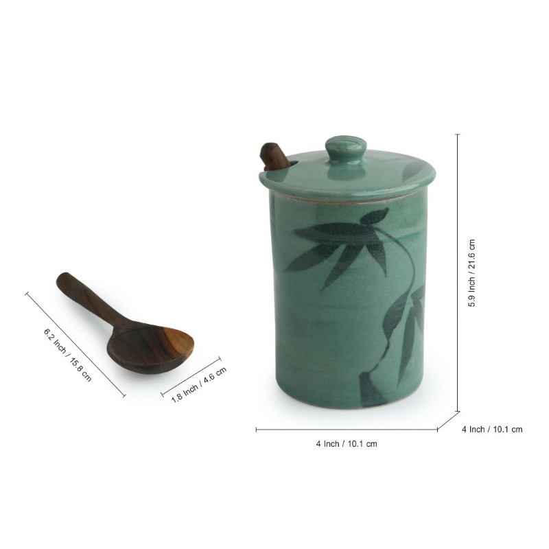 Moorni Tropical Delicacy Studio Pottery Ceramic Pickle & Jam Jar With Spoon