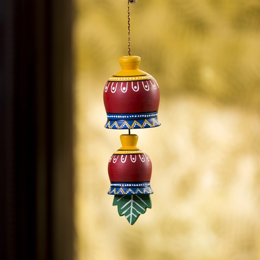 Moorni The Earth Charm Hand-Painted Decorative Hanging In Terracotta & Wood