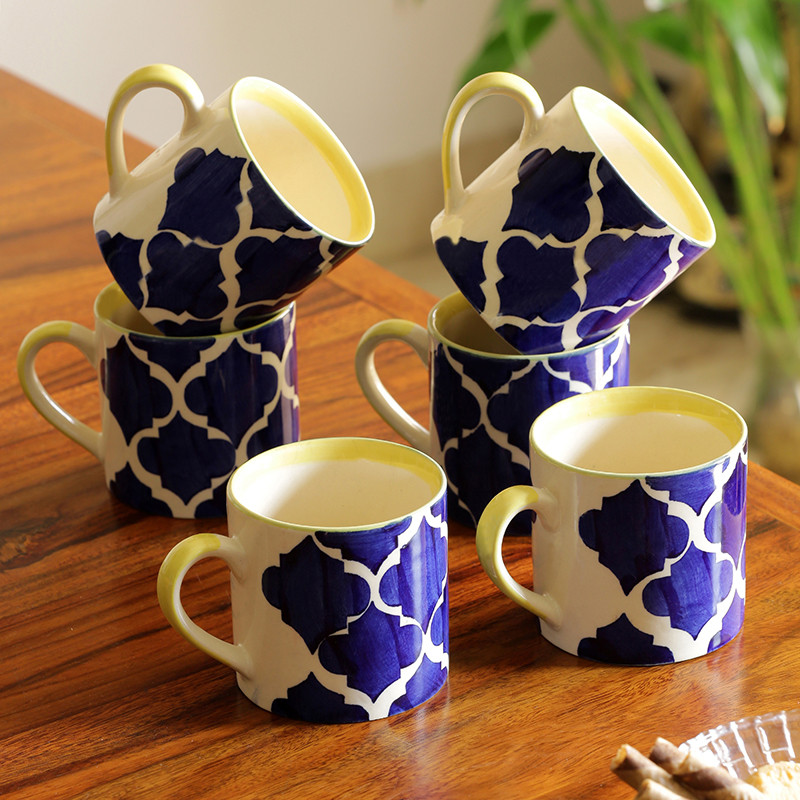 Moorni Ocean Caffeine Hangouts Handpainted Tea & Coffee Cups In Ceramic (Set Of 6)