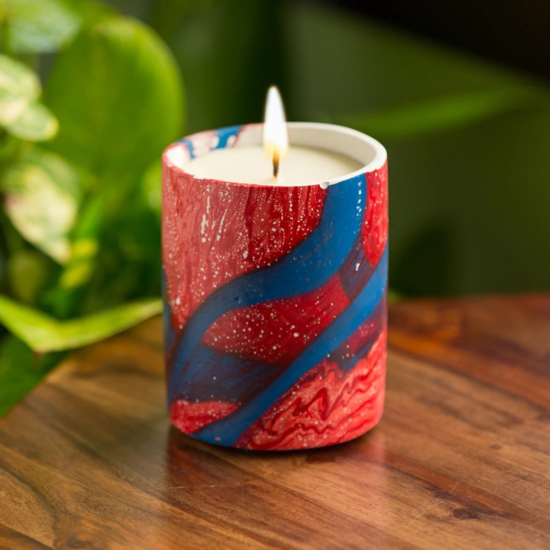 Moorni The Lilian Blue Scented Wax Candle In Concrete with Abstract Handpainting