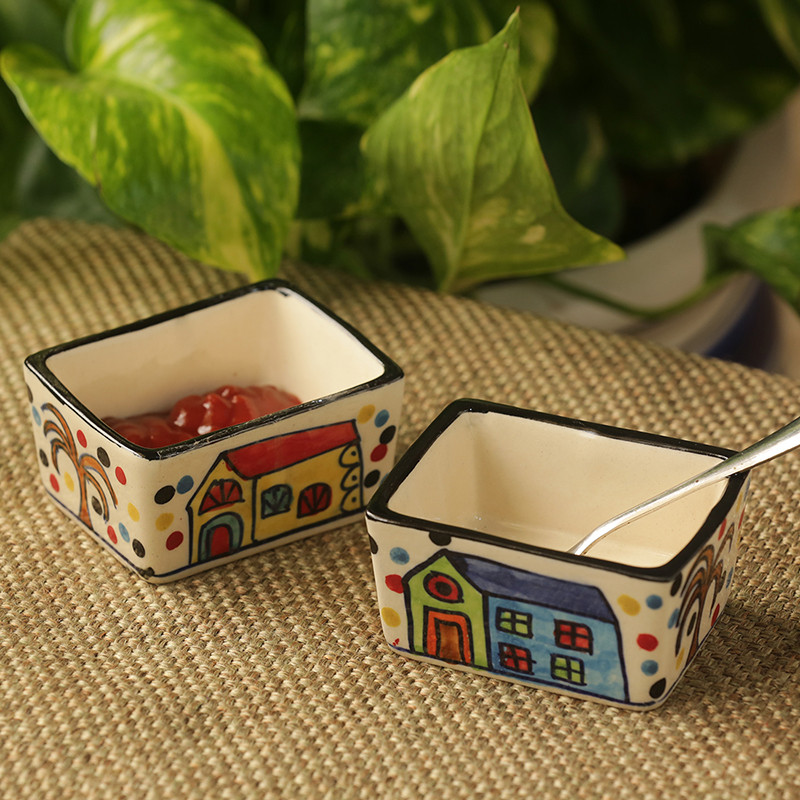 Moorni Two Dips Of Hut Hand-Painted Ceramic Chutney & Pickle Bowls (Set Of 2)