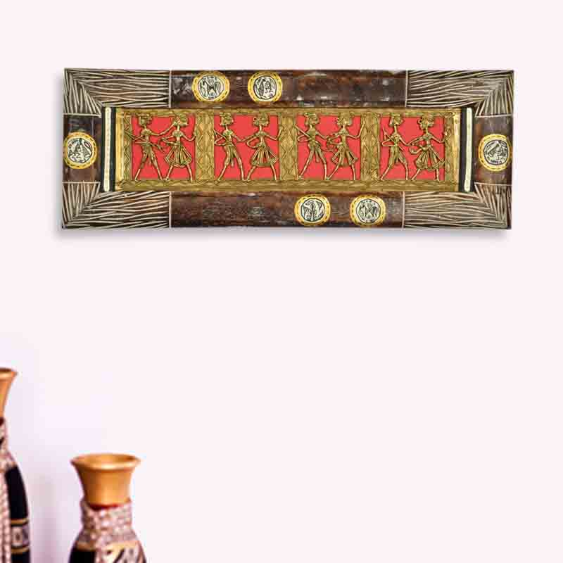 Moorni Dhokra Work and Warli Handpainted Horizontal Wall Decor in Sheesham
