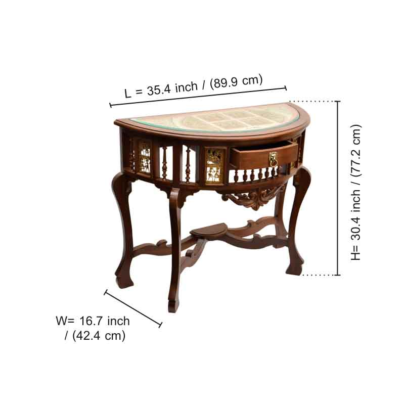 Moorni Teak Wood D Shaped Console Table with Dhokra and Warli Work