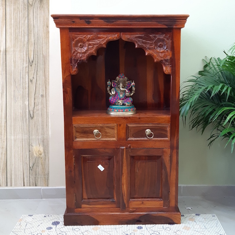 Moorni Real Wood Home Temple with Drawer and Storage