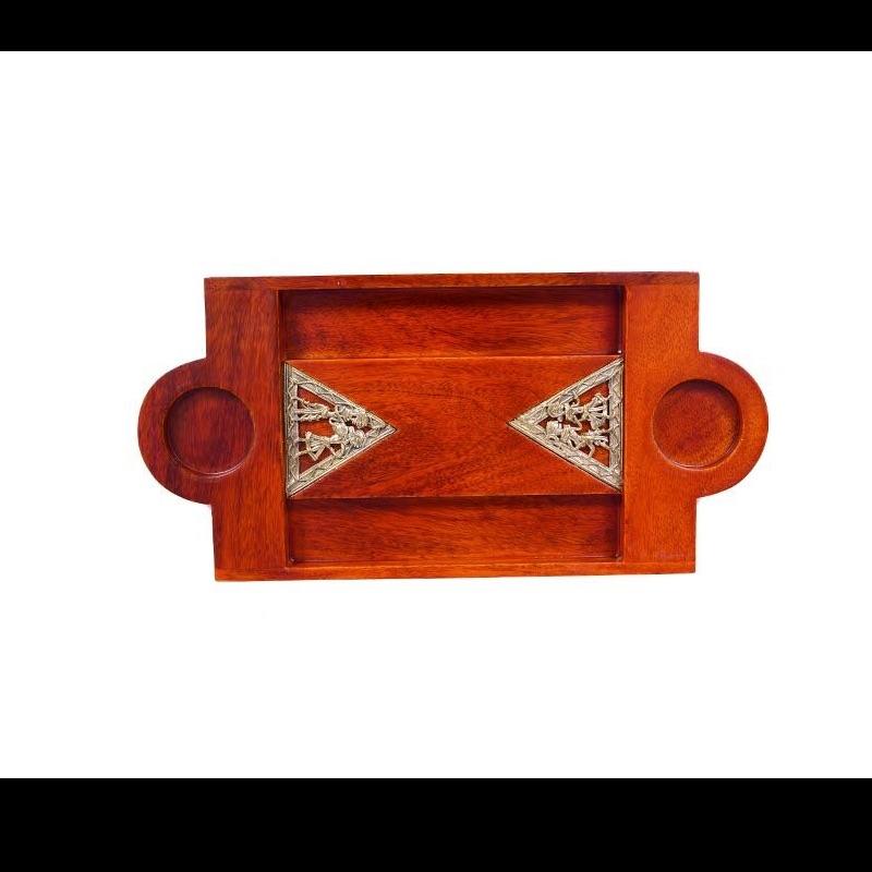 Shot Tray Triangular Dhokra Work Jaali In Mango Wood