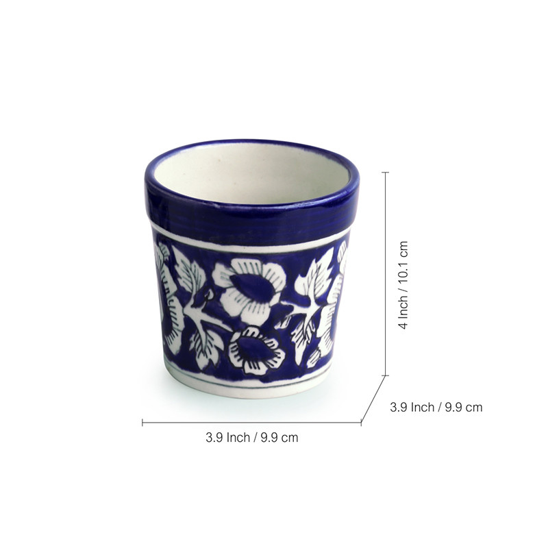 Moorni The Floral Pictured Mughal Hand-Painted Ink Blue Ceramic Planter (Set Of 2)