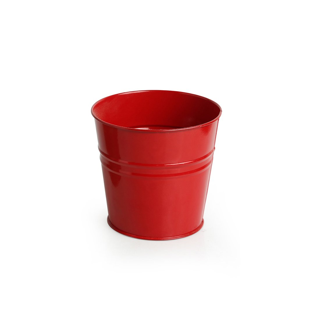 Moorni The Red Bucket Wall Planter Pot With Curved Holder In Galvanized Iron