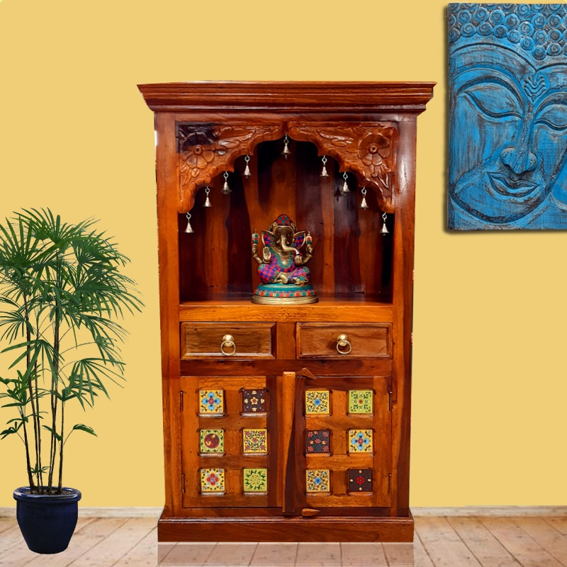Moorni Real Wood Home Temple With Drawer and Tiles Work