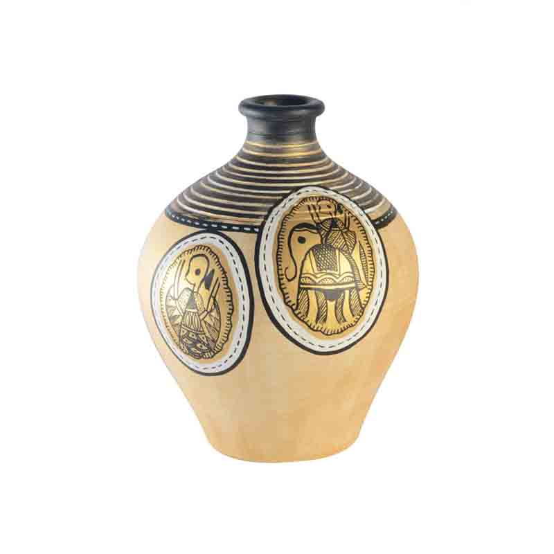 Moorni  Terracotta Handpainted Warli Vase Matki Neck Natural White 6 Inch