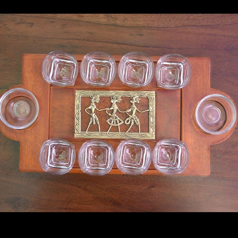 Shot Tray Rectangular Dhokra Work Jaali In Mango Wood