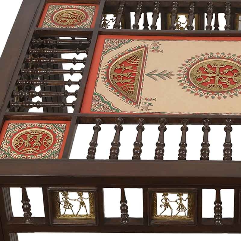 Moorni Teak Wood Centre Table with Warli and Dhokra Work