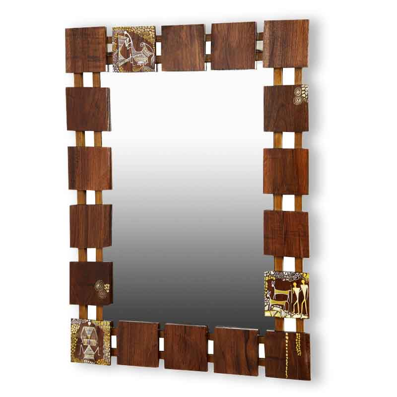 Moorni Wooden Handcrafted Warli Wall Mirror - EL-023-013