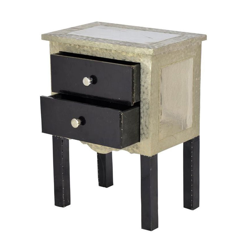 Glow Homes 2 Drawer End Table- Black Silver