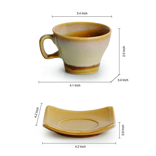 Moorni A Universe in Chai Tea Cups & Saucers Set Dual Glazed Studio Pottery In Ceramic (Set Of 6)