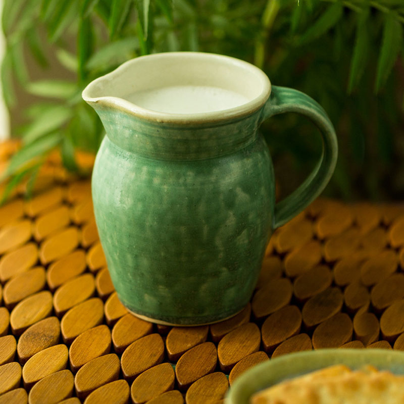 Moorni Jade Green Ceramic Milk & Water Jug (Studio Pottery) EL-005-290