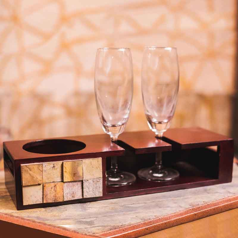 Olha-o Tribe Champagne Tray (Small) with Glasses