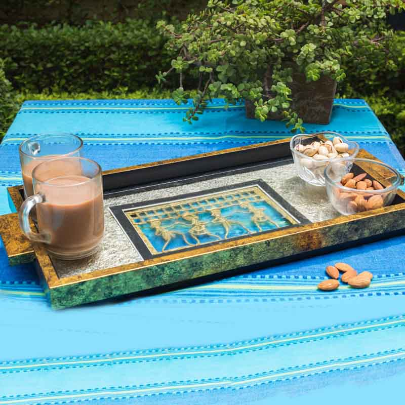 Olha-o Tribe Serving Tray with Gold Leafing