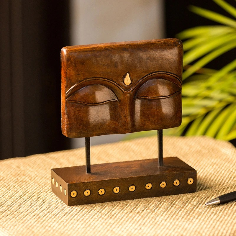 Moorni Meditating Buddha Eyes Hand Carved Wooden Sculpture Showpiece (7.7 Inch)