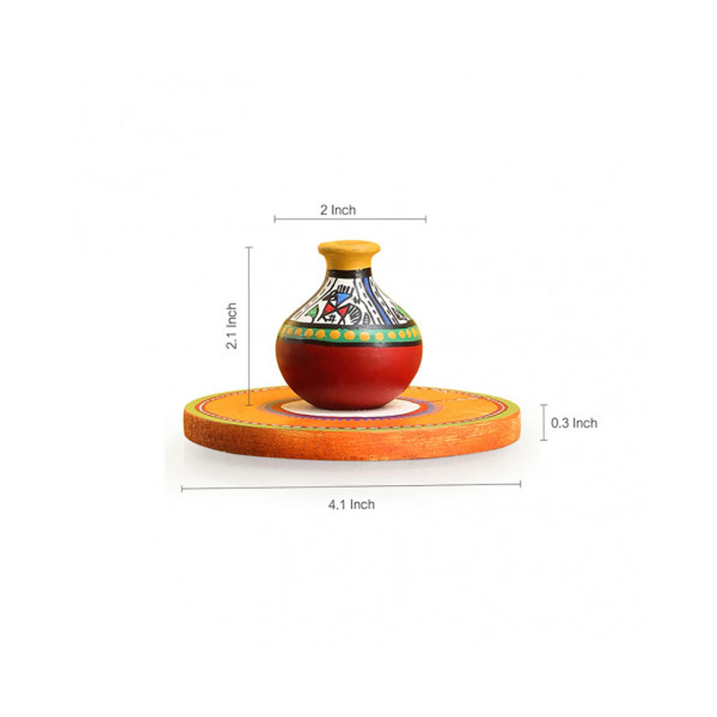 Moorni Aromas In A Matki Terracotta Warli Incense Stick Holder With Wooden Tray - EL-011-013