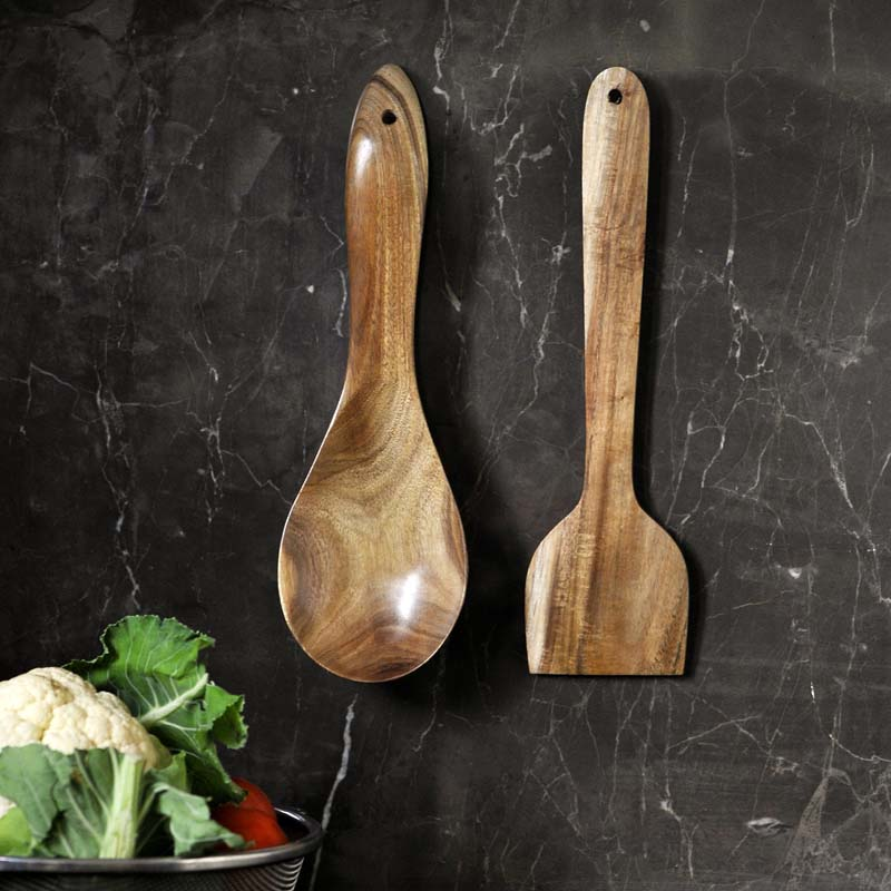 Moorni Wooden Serving Spatula Set in Natural Brown