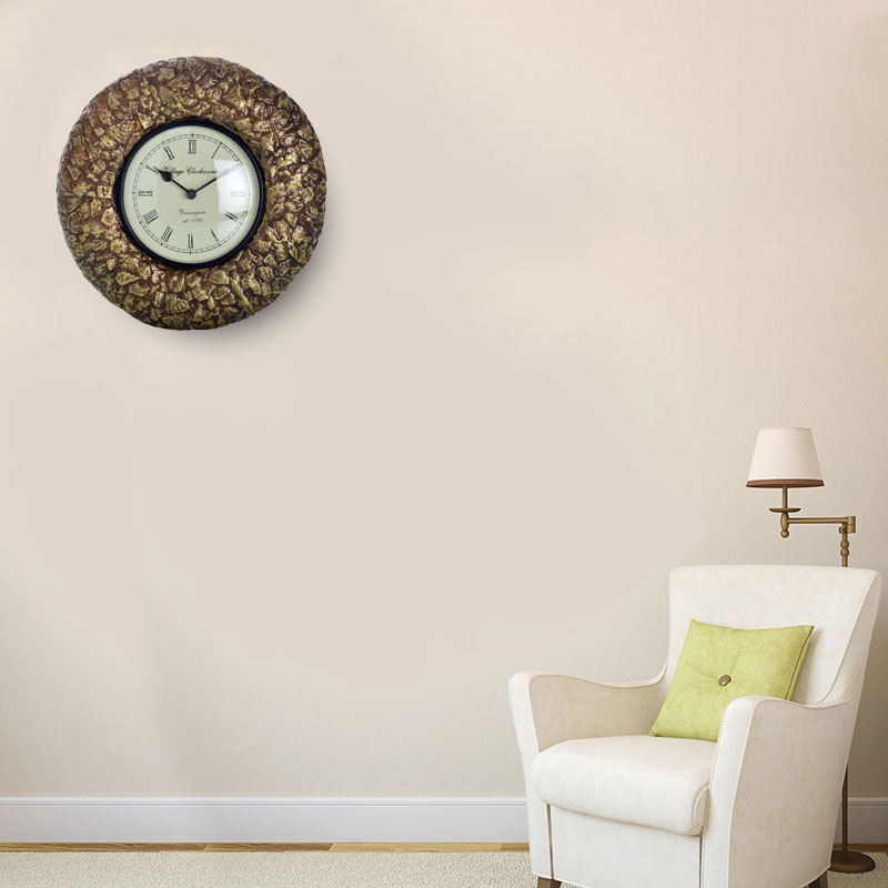 Traditional Rajasthani Brass Wall Clock with Antique Design (40cm)