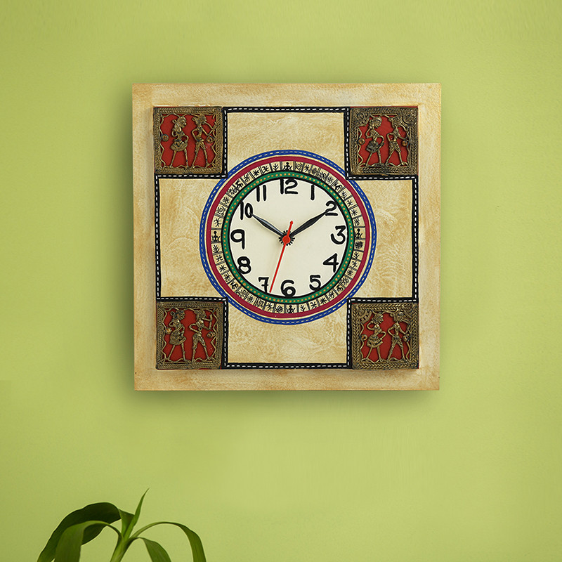 Moorni Dhokra Figurines Warli Wall Clock