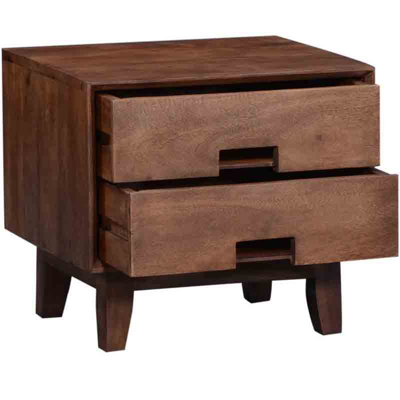 Moorni Solid Wood Bed Side Table In Teak Finsh SBA002