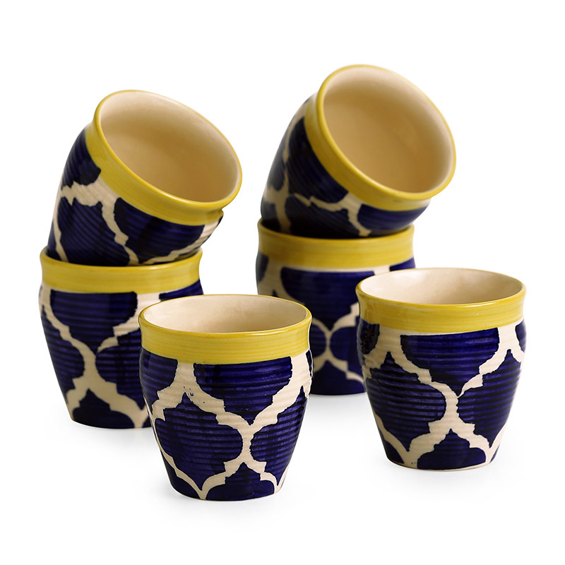 Moorni Tropic of Kulhads Handpainted In Ceramic (Set Of 6)