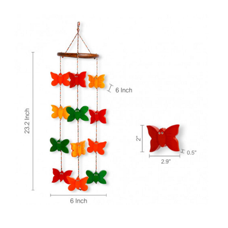 Moorni Wooden Handmade Spinning Butterflies Decorative Hanging - EL-015-041