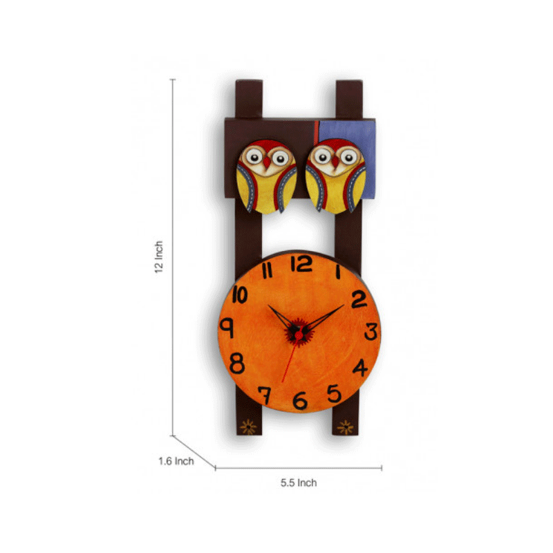 Moorni Twin Owl Motif Wooden Handcrafted Wall Clock - EL-001-057