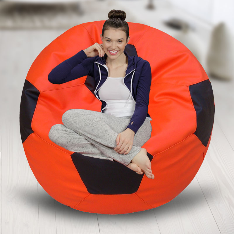 Classic Football Bean Bag Filled with Beans Orange & Black