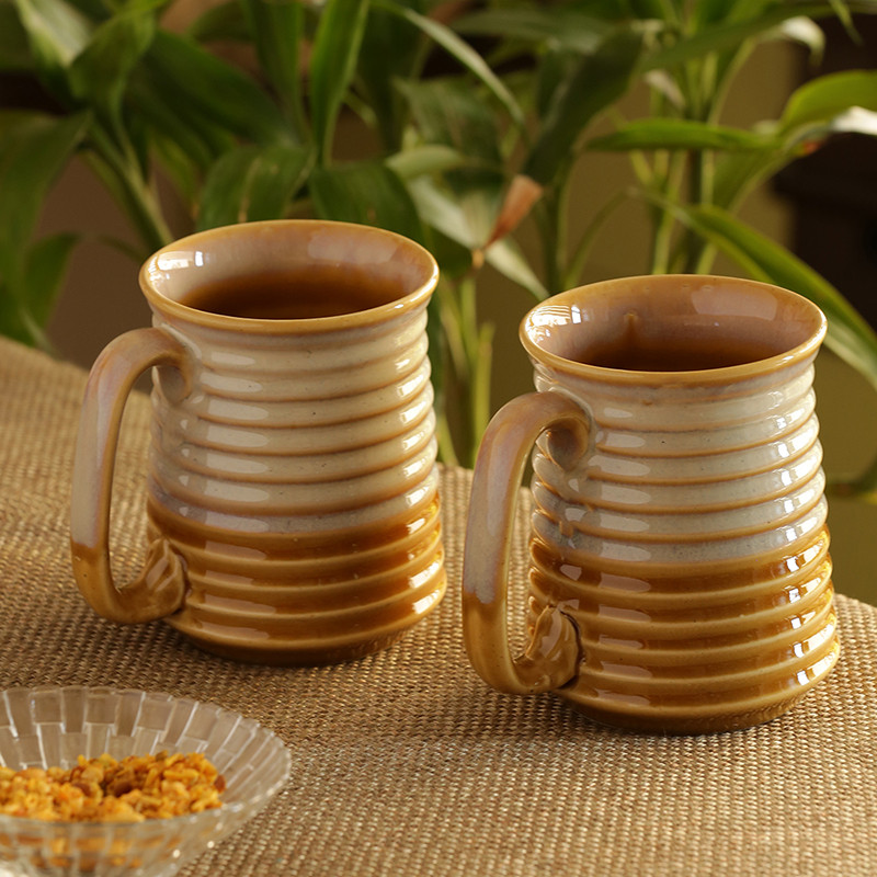 Moorni Sky Ellipses Beer & Milk Mugs Dual Glazed Studio Pottery In Ceramic (Set Of 2)