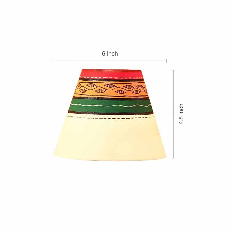 Moorni Warli In Light Hand-Painted Pot Shaped Round Table Lamp In Terracotta - EL-003-147