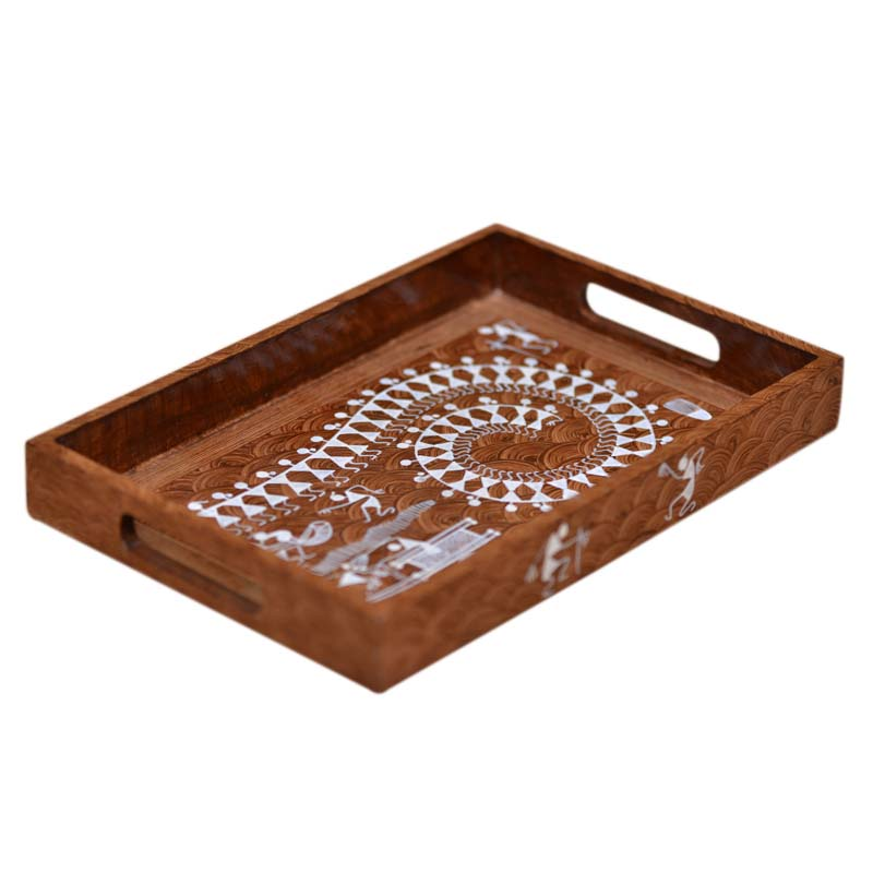 Moorni Warli Handpainted Tray in Dusky Brown