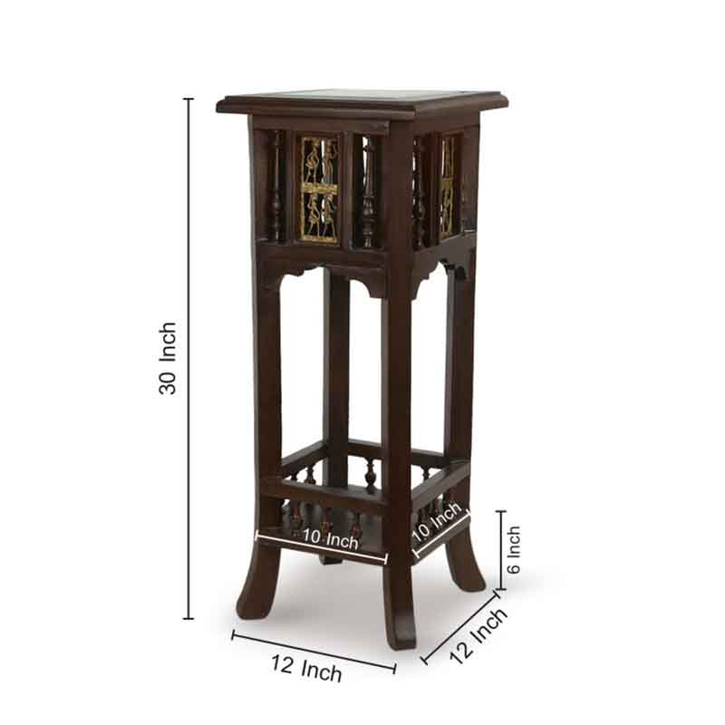 Moorni Teak Wood Warli and Dhokra Planter Table - EL-020-104