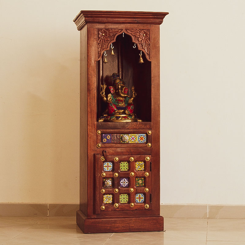 Moorni India Wooden and Brass Temple (Wall Mount) - Pooja Mandir