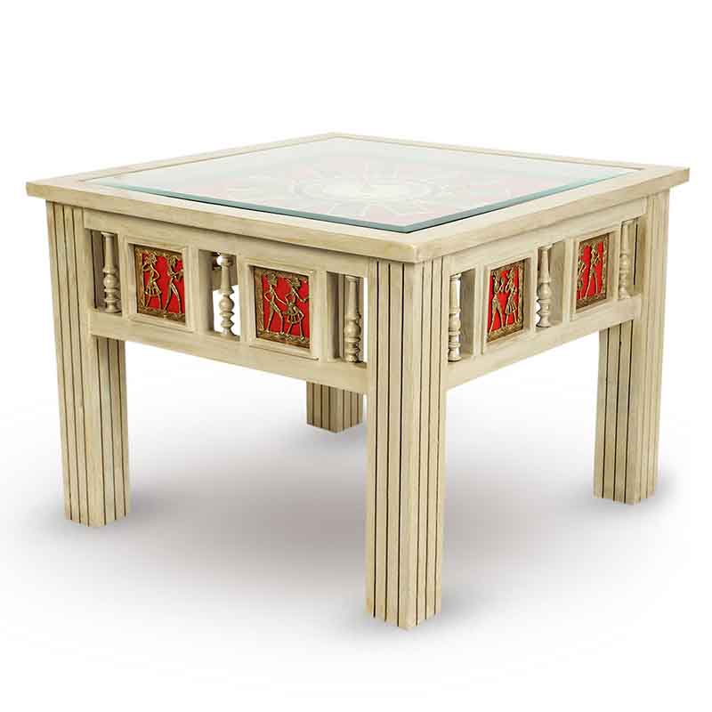 Moorni Teak Wood Warli and Dhokra Work Side Cum Center Table with Clock